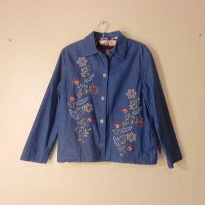 Alfred Dunner Jean Jacket 8P Embroidered Flowers